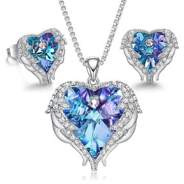 Coloured Winged Heart 2PC Earrings & Necklace Set (10 Available Colors)