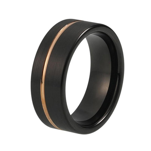 Gold Off Center Groove Matte Tungsten Ring