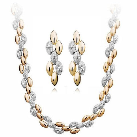 Gold & Silver Wheat Earrings & Necklace Set