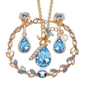 3PC Floral Teardrop Colored Zirconia Brass Jewelry Set (2 Available Colors)
