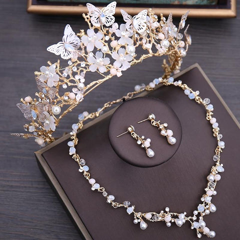 White Floral & Butterfly Zirconia Gold Tone Stainless Tiara Set