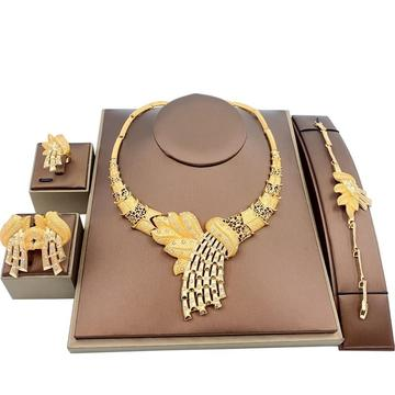 4PC Gold Plated Stainless Egyptian Whip Jewelry Set