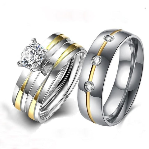 Round Solitaire Gold & Silver Plated Tungsten Carbide Ring 3pcs Set