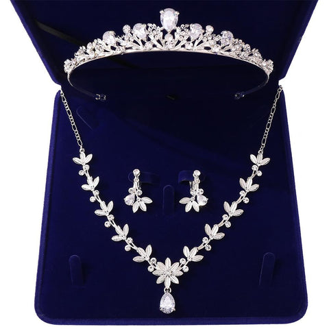 Low Cut Princess Floral Bud Stainless Tiara Set (2 Available Color)