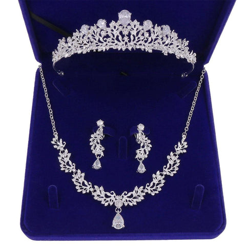 French Pear Cut Verdure Stainless Tiara Set