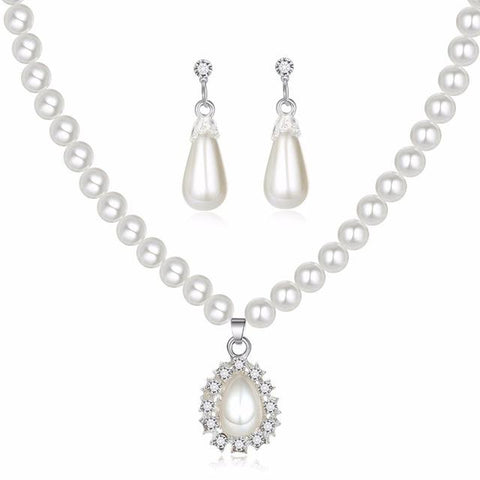 2PC Pearl Drop Earrings & Necklace Set