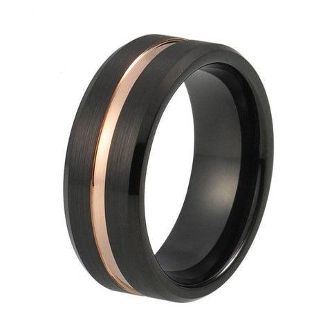 Rose Gold Center Groove Brushed Tungsten Ring