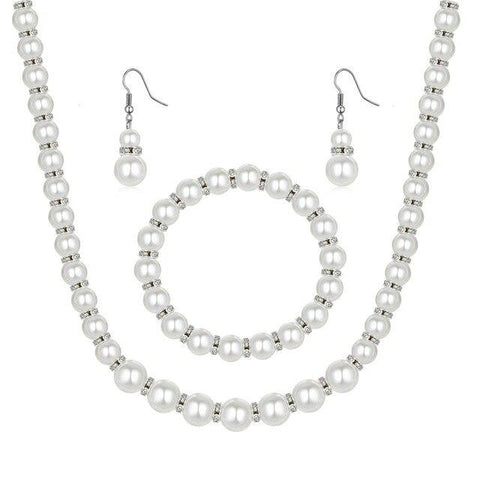 2PC Round Pearl Dangle Earring Necklace Set