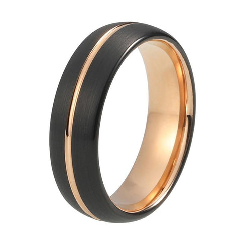 Rose Gold Center Groove Brushed Dome Tungsten Ring