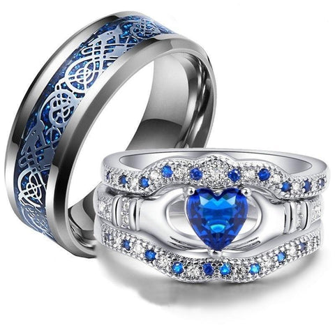 Blue Heart Claddagh Celtic Dragon Silver Tone Tungsten Rings 3pcs Set