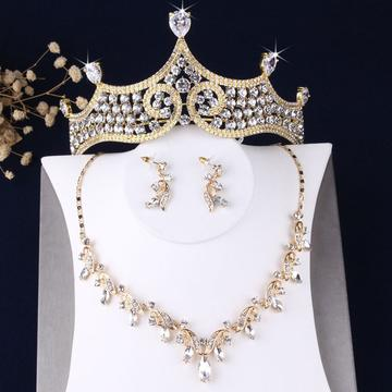Baroque Royal Pear Cut Gold Stainless Tiara Set