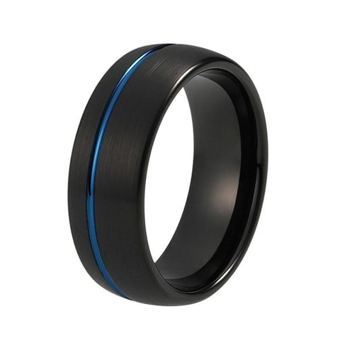 Off-centre Blue Groove Brushed Dome Tungsten Ring