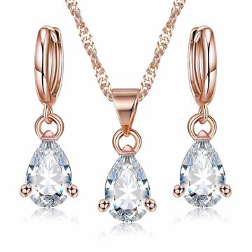 Rose Gold Plated Teardrop Zirconia Dangle Earrings & Necklace Set