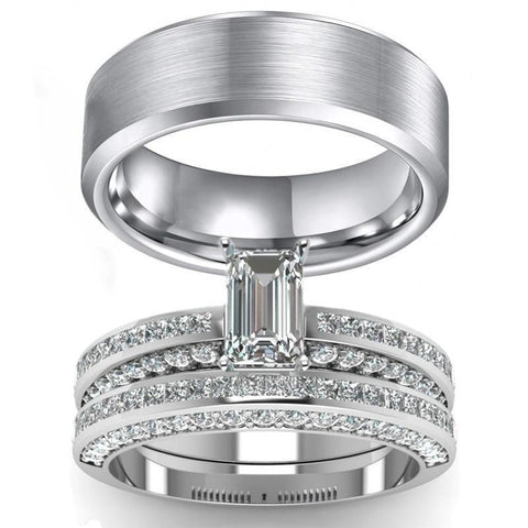 Pavé Emerald Cut CZ Brushed Stainless Steel Ring 3pcs Set