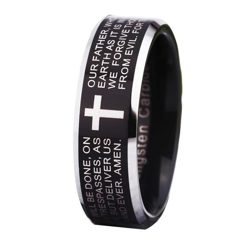 Silver Engraved Cross Black Tungsten Ring
