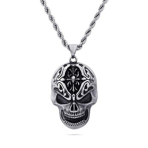 Oxidized 3D Skull Stainless Steel Necklace