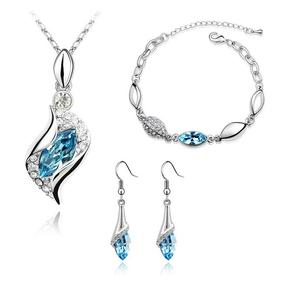 3PC Earrings Necklace & Bracelet Colored Austrian Plated Stainless Set (6 Available Colors)