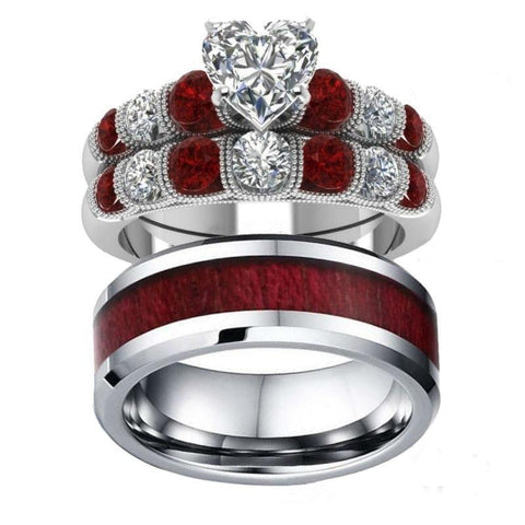 White & Ruby CZ Channel Set Wood Inlay Stainless Steel Ring 3pcs Set