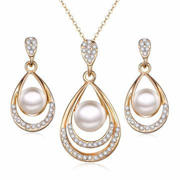 Studded Gold Plated Stainless Steel Pearl 2PC Jewelry Set (3 Available Designs)