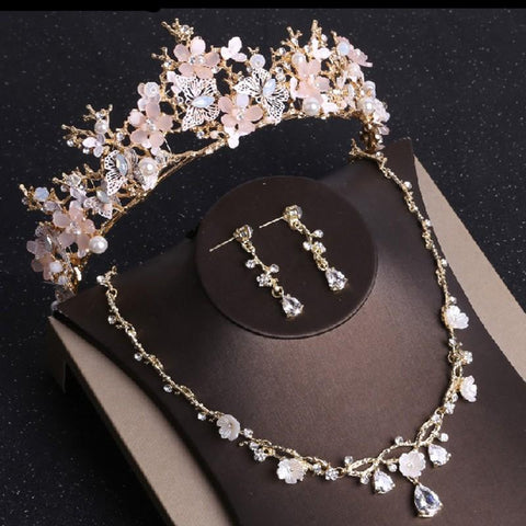 316L Stainless Rose Gold Flower Crystal Wire Tiara Set