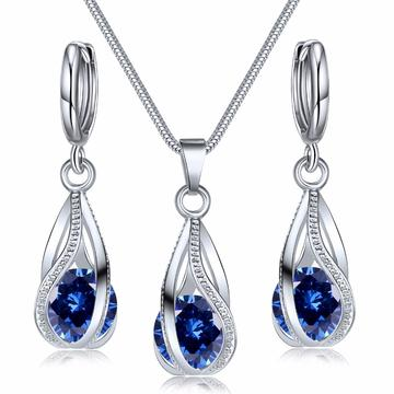 Cage Swirl Circular Cut Zirconia 2PC Jewelry Set(5 Available Colors)