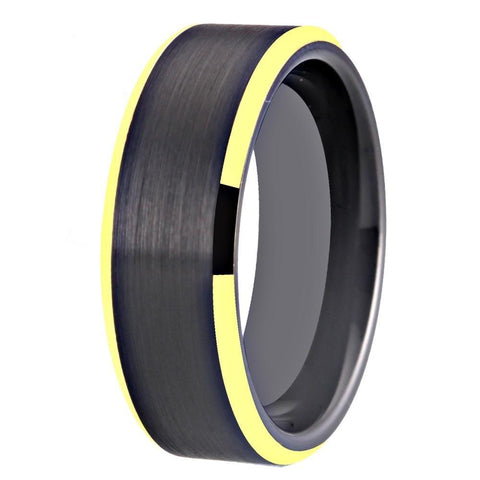 High Polished Bevel Flat Brushed Tungsten Ring (4 Available Colors)