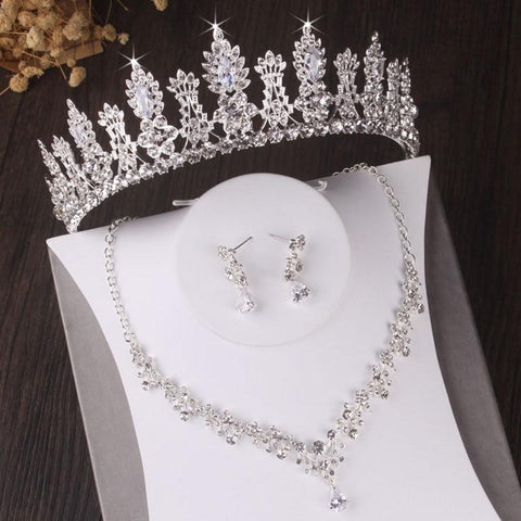 Cathedral Queen CZ Stainless Tiara Set