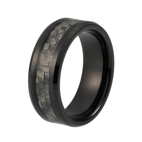 Gray Weave Carbon Fiber Inlay Tungsten Ring