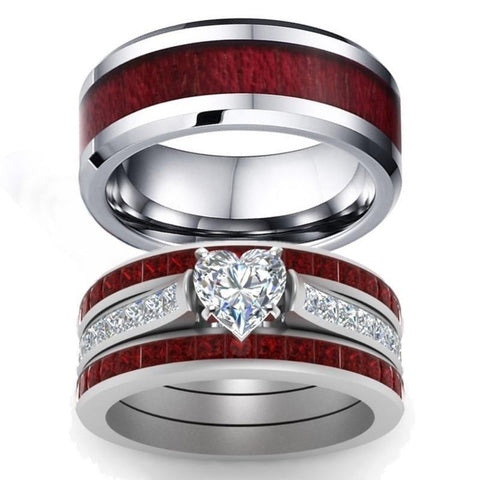 Silver-Tone Wood Red & White Heart CZ Tungsten Carbide Ring 4pcs Set