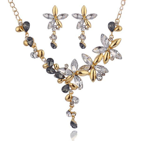 Gold Plated Two Tone Zirconia Floral 2PC Jewelry Set (4 Available Colors)