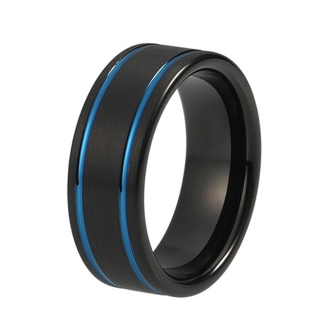 Lateral Edge Blue Groove Black Tungsten Ring