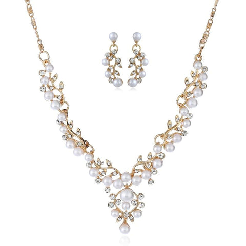 Verdure Pearl Zirconia Wedding Jewelry Set (2 Available Colors)
