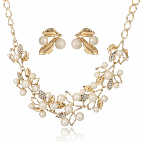 Roman Foliage Pearl Studded Stainless Earrings & Necklace Set (2 Available Colors)