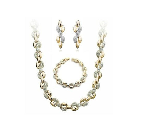 3PC Plated Stainless Rhinestone Earrings Necklace & Bracelet Set(2 Available Colors)