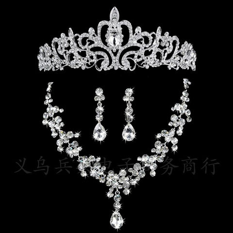 3PC Stainless Steel White Crystal Drop Tiara Set (3 Available Style)
