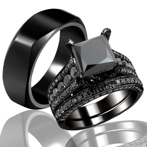 Four Pronged Square-Cut Black Zirconia Tungsten Carbide Ring 3pcs Set