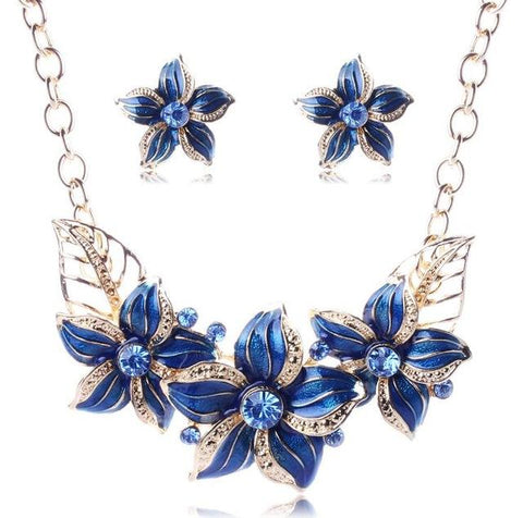 Coloured Enamel Floral Earrings and Necklace Set (4 Available Colors)