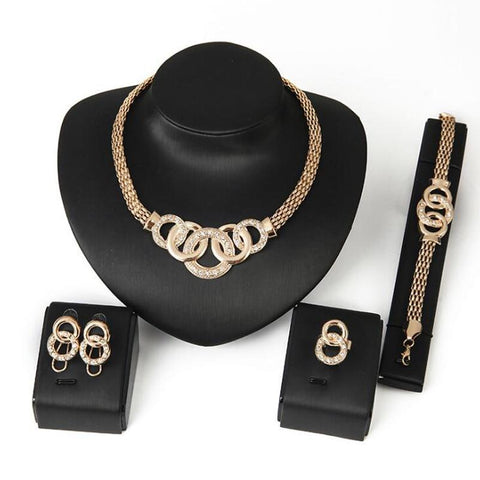 Gold-Tone Serpent Infinity Rings 4Pc Jewelry Set