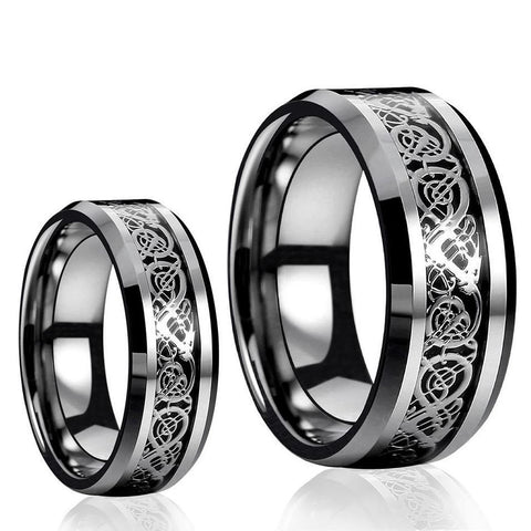 Black & Silver Celtic Dragon Knot Tungsten Carbide Rings Set
