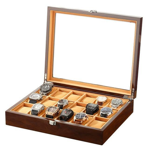 Large 16 Compartment Wood Watch Box Display Case (2 Available Color)