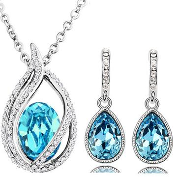 2PC Halo Teardrop Colored CZ Earring & Necklace Set (7 Available Colors)