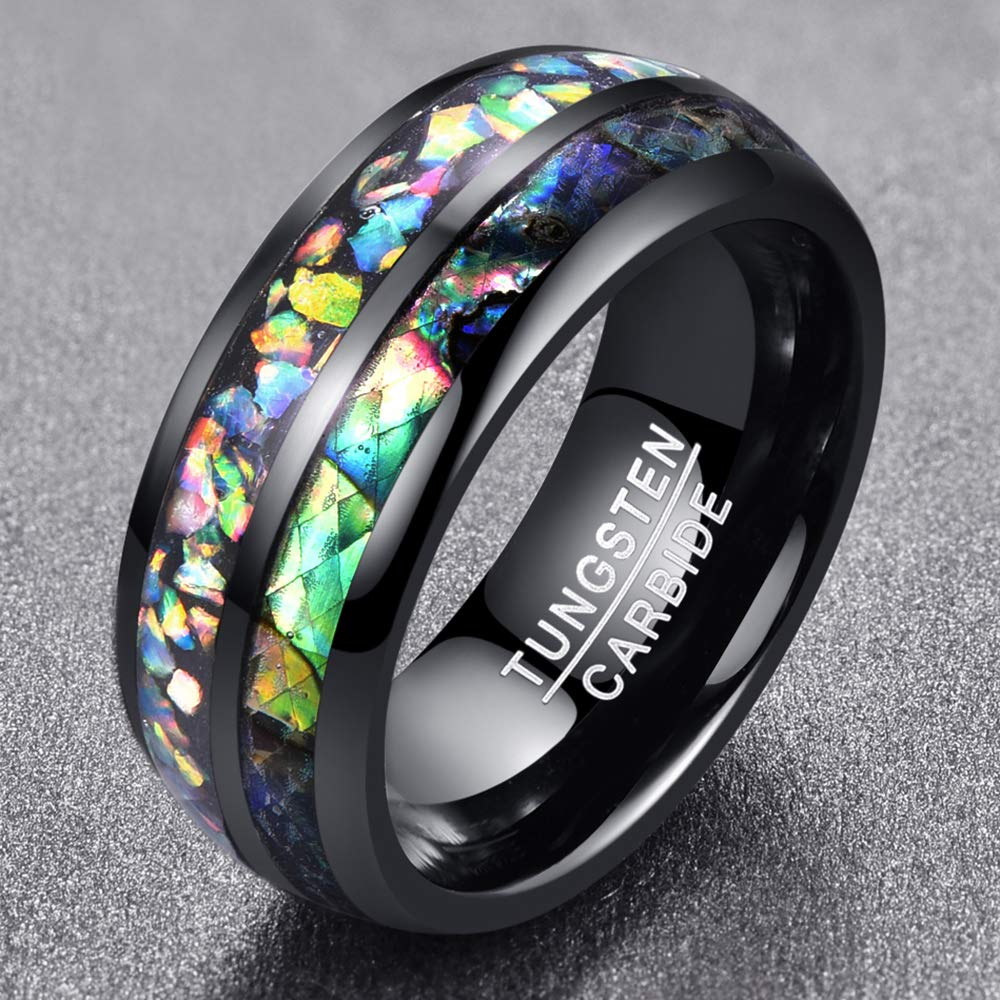 Black Tungsten Carbide with Opal Inlay Wedding Ring