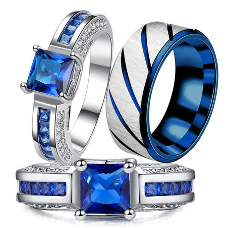 Channel Set Blue & White CZ Brushed Silver Tungsten Carbide Rings 3pcs Set