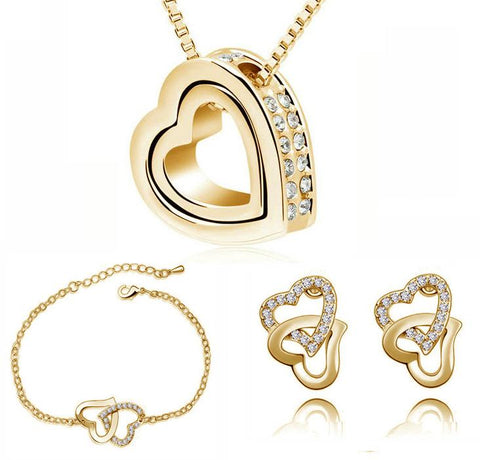 3PC Double Heart CZ Earring & Necklace Set (8 Available Colors)