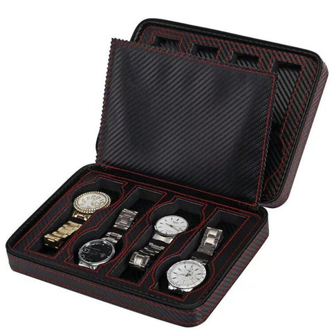 Brown PU Leather Zippered Travel Watch Box (3 Available Size)