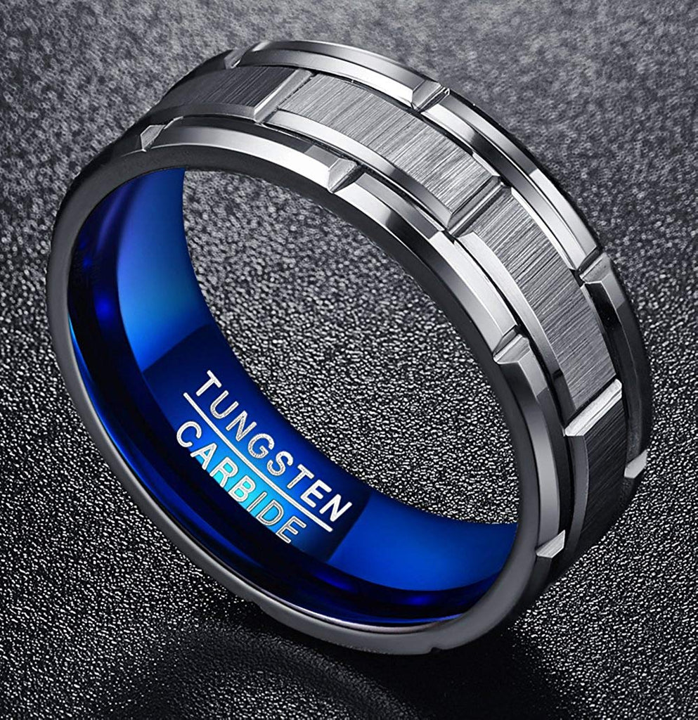 8mm Brick Brushed Pattern Tungsten carbide with Blue Color Wedding Ring