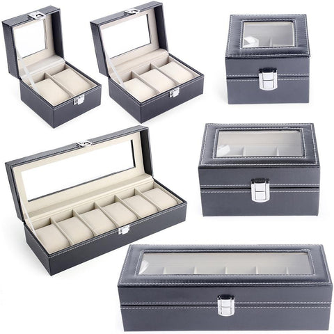 Gray PU Leather Watch Display Case (3 Available Size)