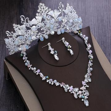 High Crown Floral Bead Zirconia Stainless Tiara Set