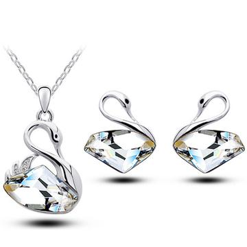 2PC Austrian Crystal Plated Stainless Swan Wedding Set (8 Available Colors)