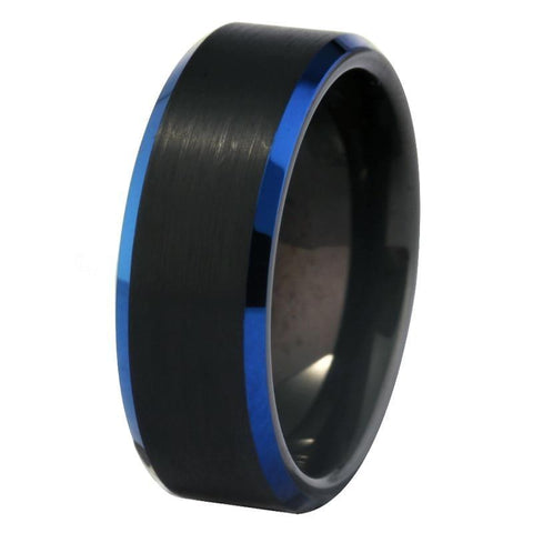 Blue High Bevel Brushed Black Tungsten Ring
